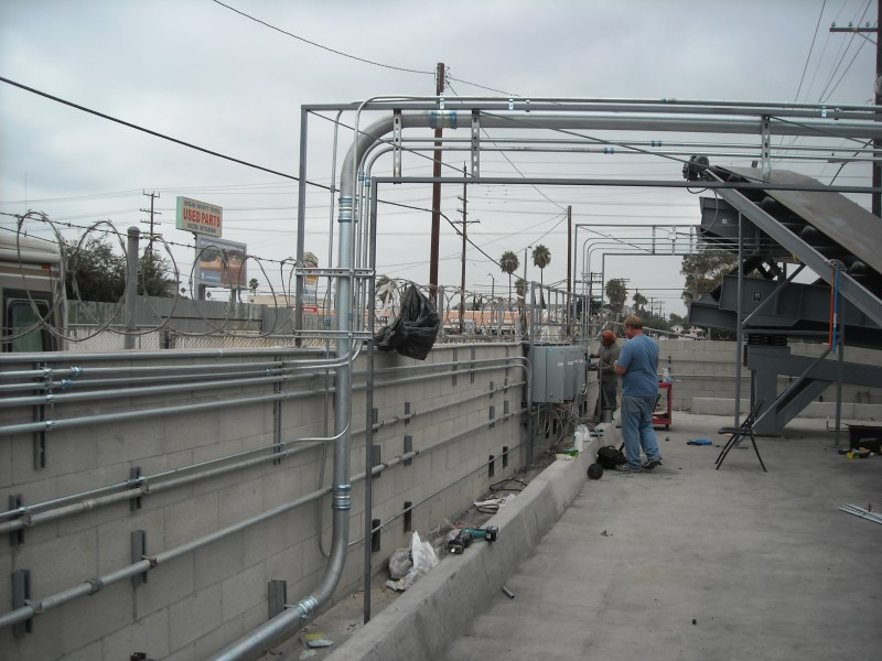 Overhead racking system to tire shredder wilmington CA